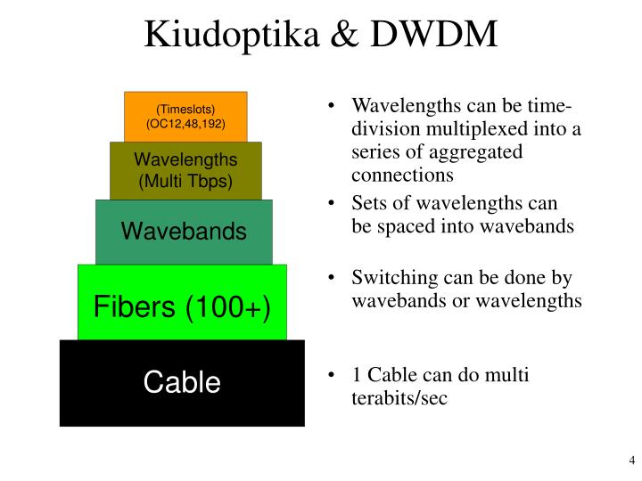 Wavelengths can be time-division multiplexed into a series of aggregated connections