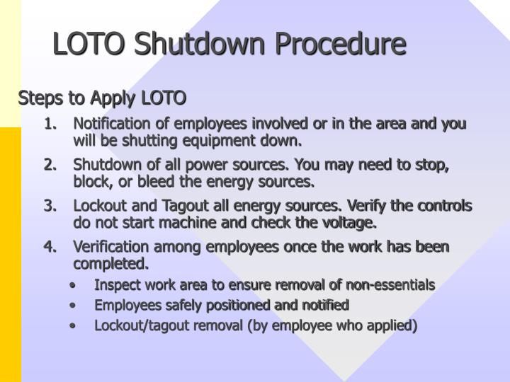 LOTO Shutdown Procedure