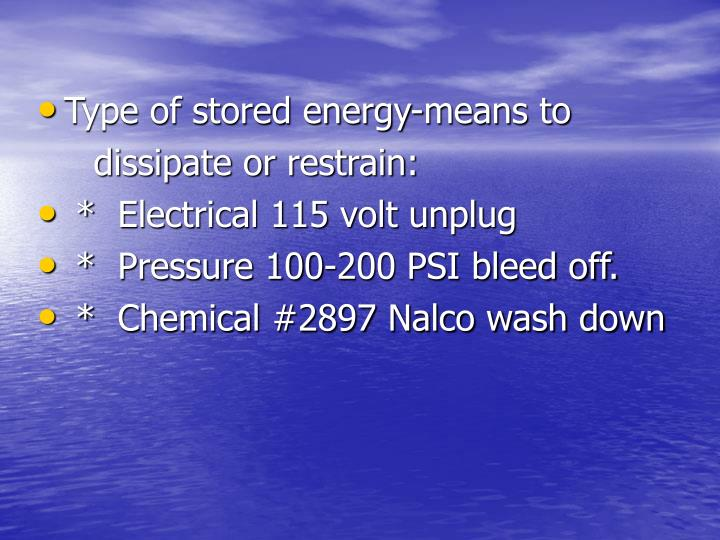 Type of stored energy-means to