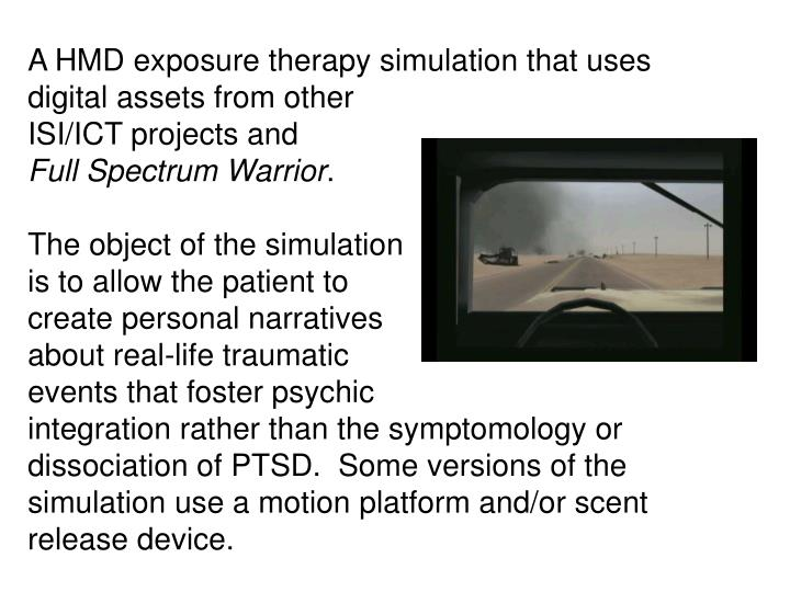 A HMD exposure therapy simulation that uses digital assets from other