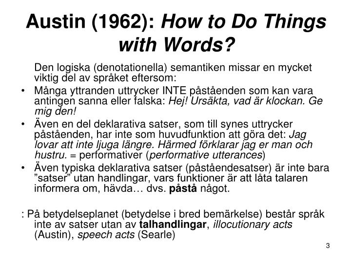 Austin 1962 how to do things with words