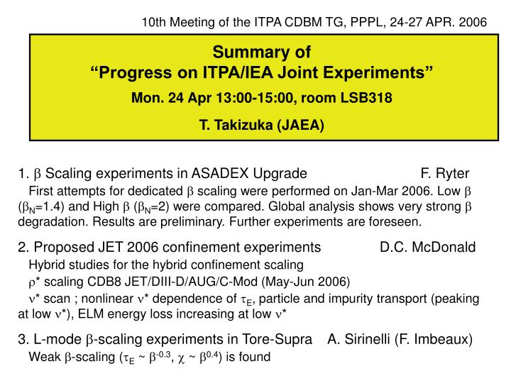 10th Meeting of the ITPA CDBM TG, PPPL, 24-27 APR. 2006