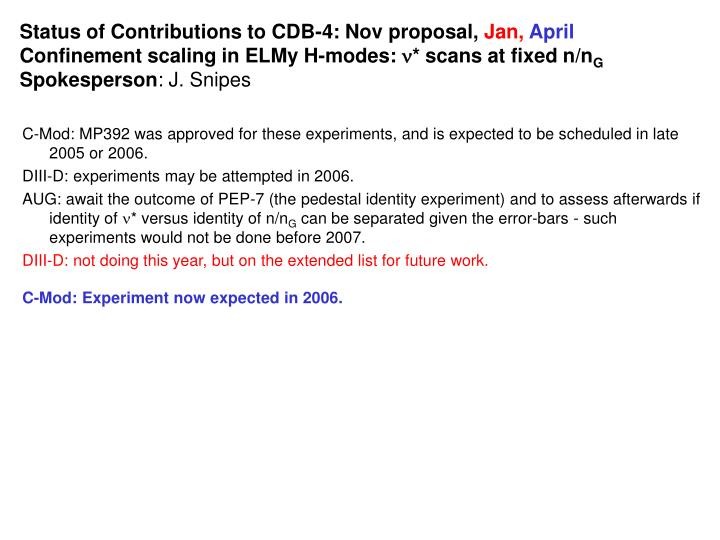 Status of Contributions to CDB-4: