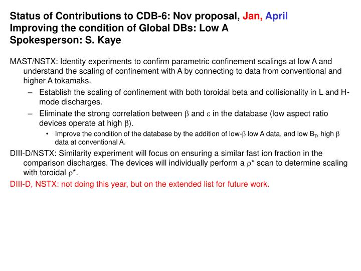 Status of Contributions to CDB-6: