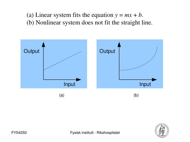 Linear system fits the equation