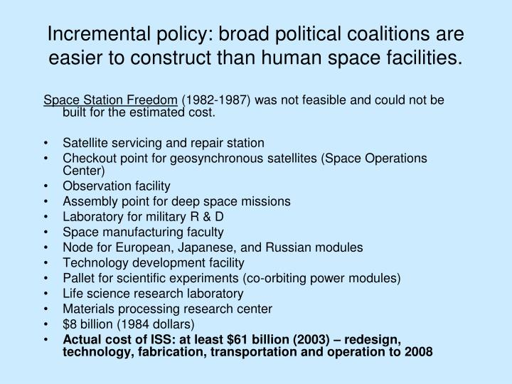 Incremental policy: broad political coalitions are easier to construct than human space facilities.