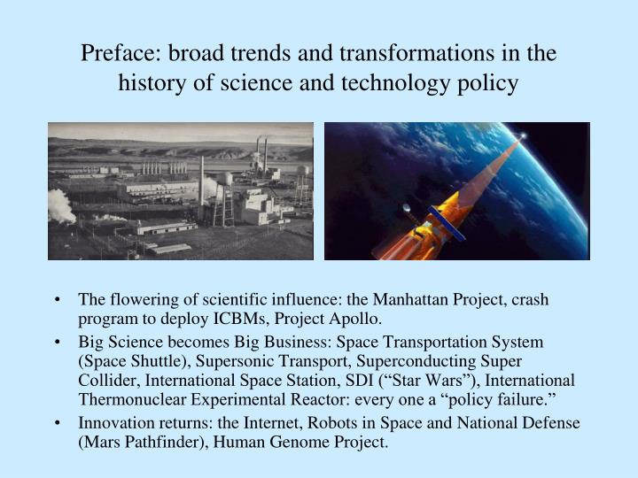 Preface: broad trends and transformations in the history of science and technology policy