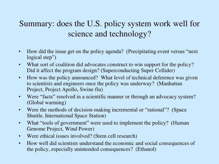 Summary: does the U.S. policy system work well for science and technology?