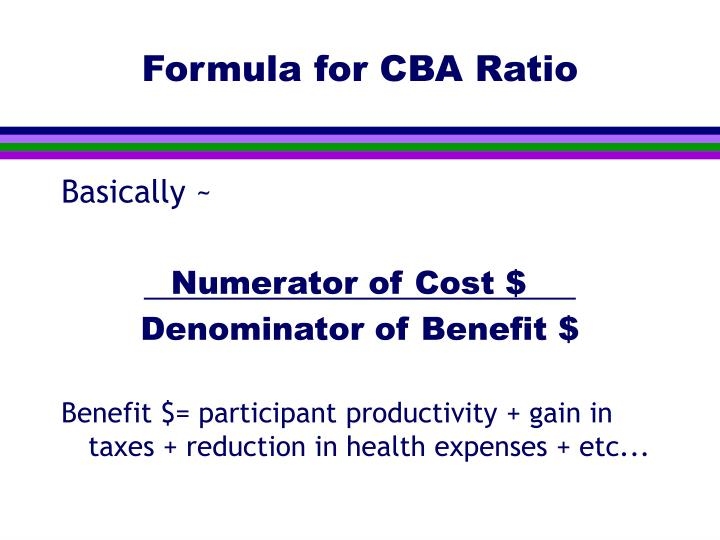 Formula for CBA Ratio