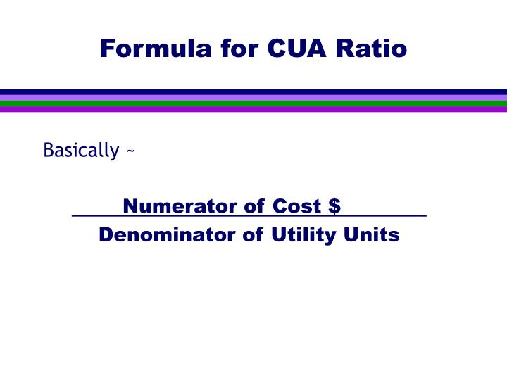 Formula for CUA Ratio
