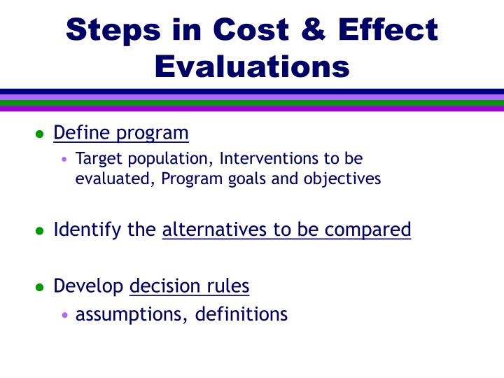 Steps in Cost & Effect Evaluations