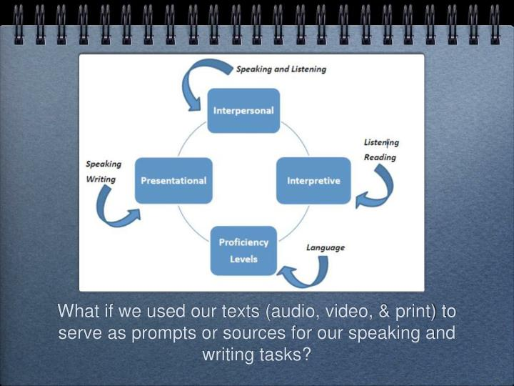 What if we used our texts (audio, video, & print) to serve as prompts or sources for our speaking and writing tasks?