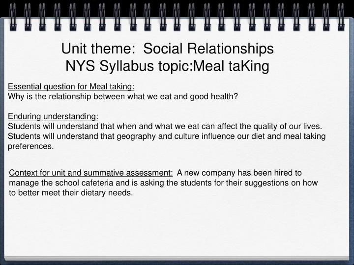 Unit theme:  Social Relationships