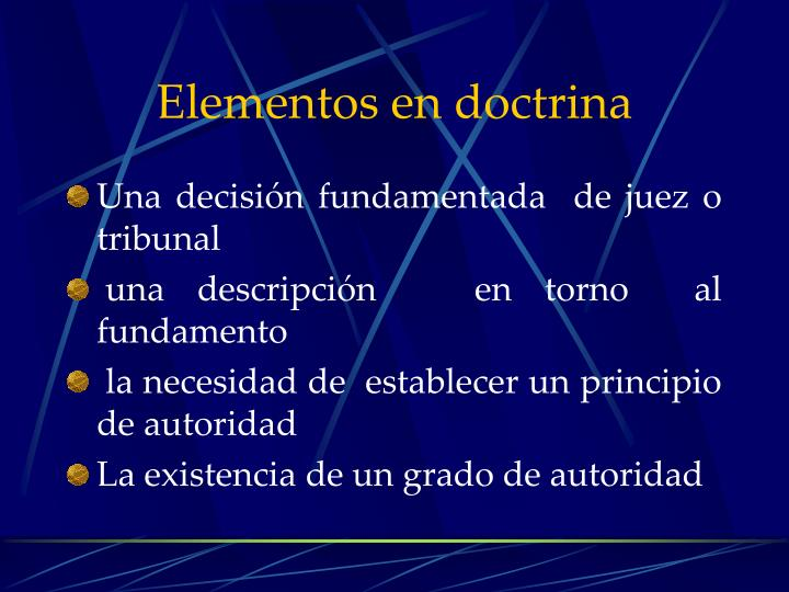 Elementos en doctrina