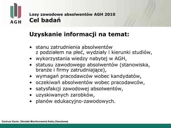 Losy zawodowe absolwentów AGH 2010