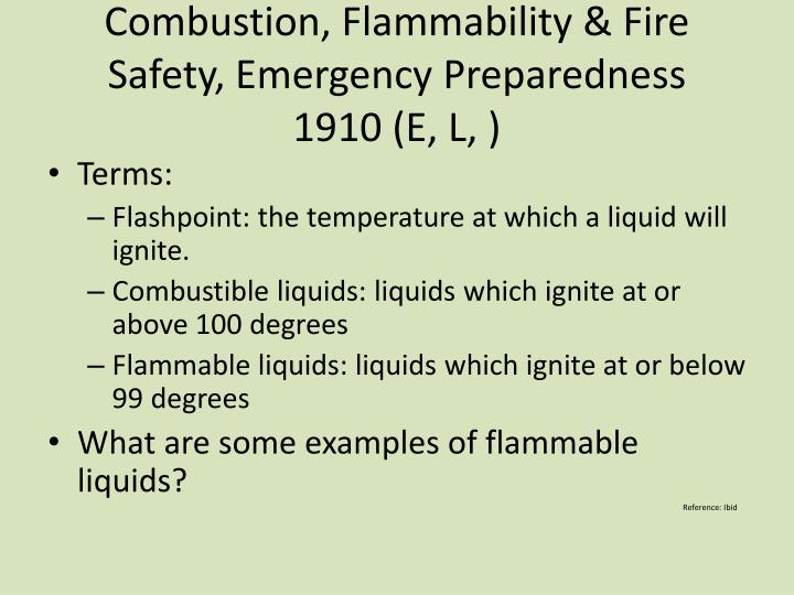 Combustion, Flammability & Fire Safety, Emergency Preparedness