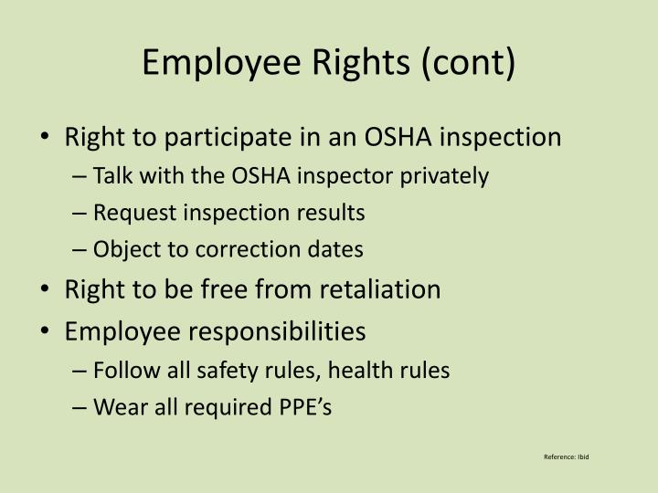 Employee Rights (cont)