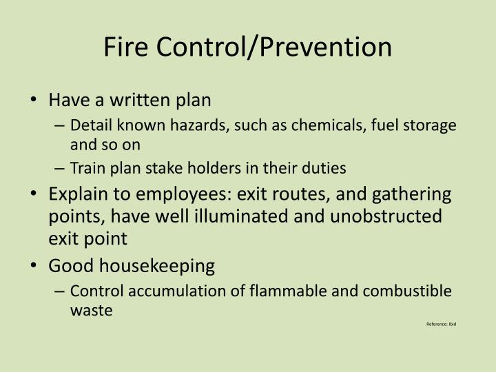 Fire Control/Prevention