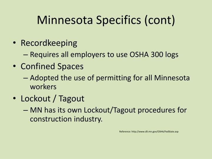 Minnesota Specifics (cont)