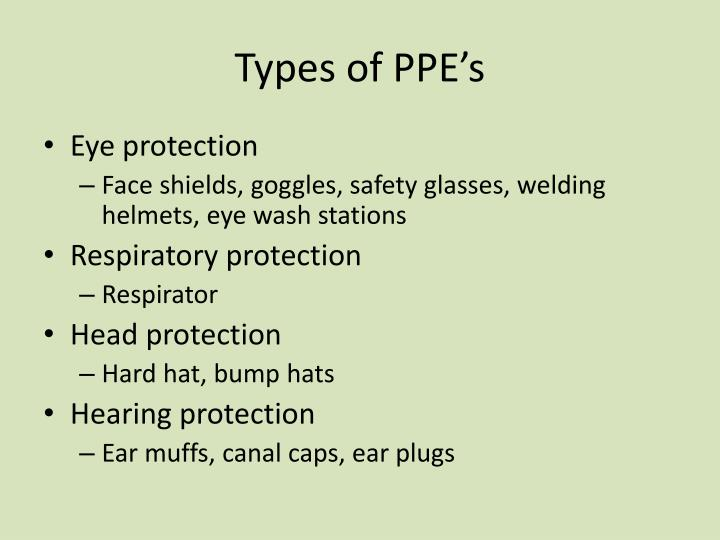 Types of PPE's