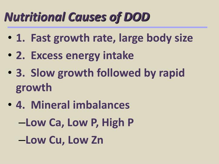 Nutritional Causes of DOD