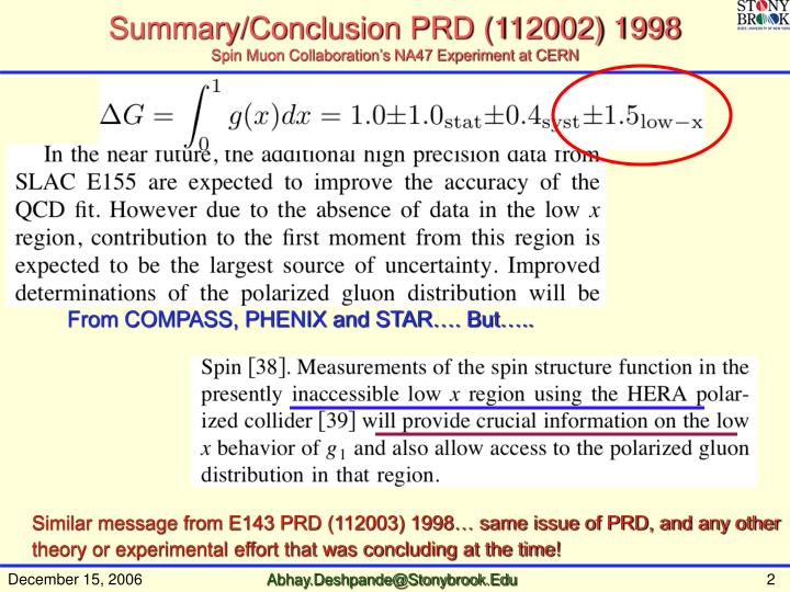 Summary conclusion prd 112002 1998 spin muon collaboration s na47 experiment at cern