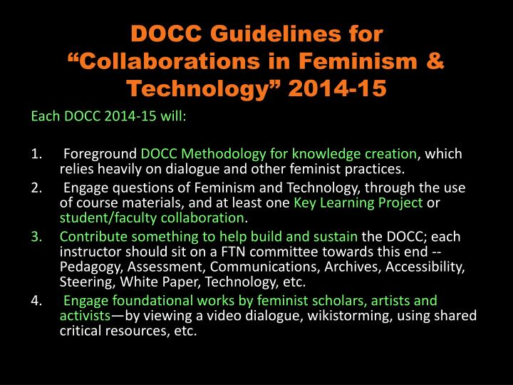 "DOCC Guidelines for ""Collaborations in Feminism & Technology"" 2014-15"