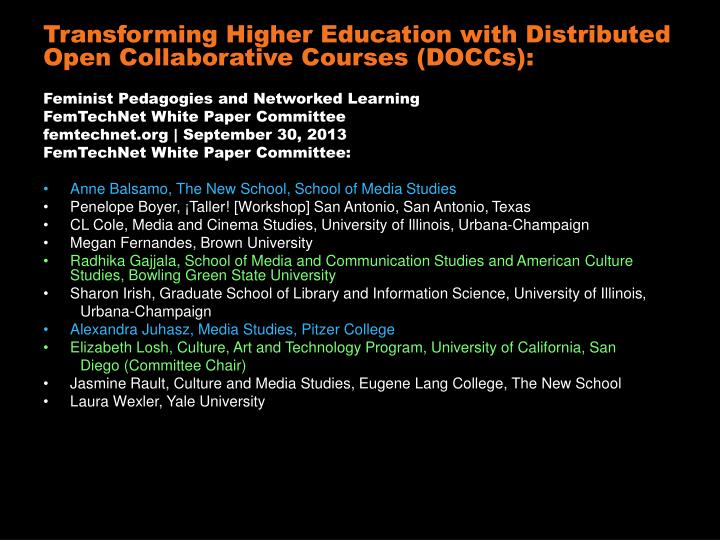 Transforming Higher Education with Distributed