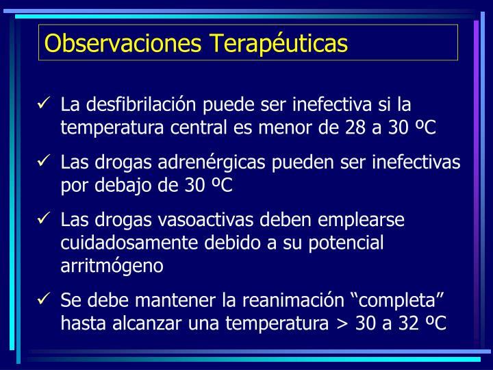 Observaciones Terapéuticas