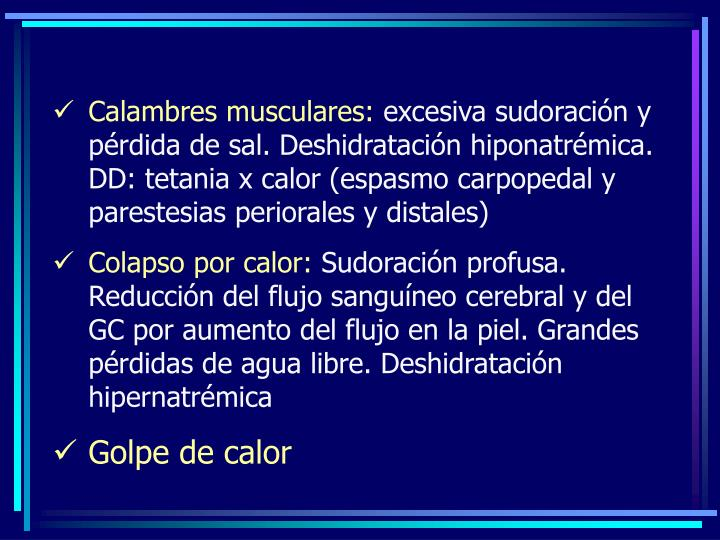 Calambres musculares: