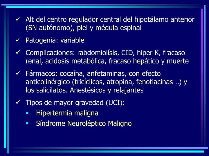 Alt del centro regulador central del hipotálamo anterior (SN autónomo), piel y médula espinal