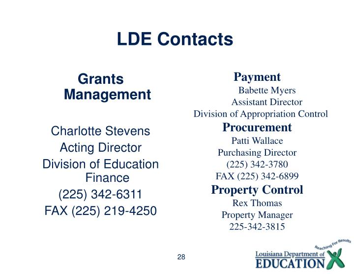 LDE Contacts