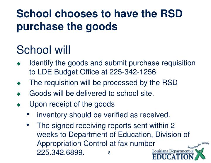 School chooses to have the RSD purchase the goods