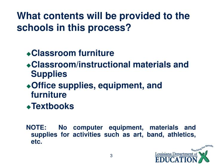 What contents will be provided to the schools in this process