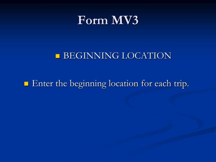 Form MV3