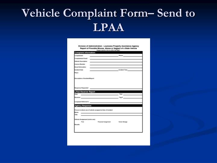 Vehicle Complaint Form– Send to LPAA