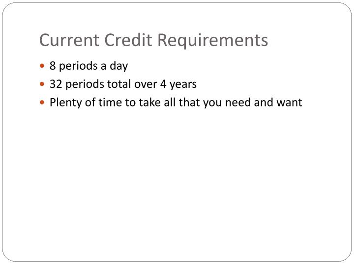 Current Credit Requirements