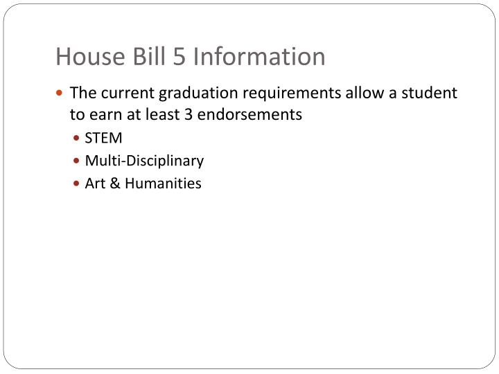 House Bill 5 Information