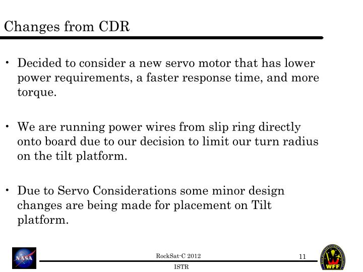 Changes from CDR