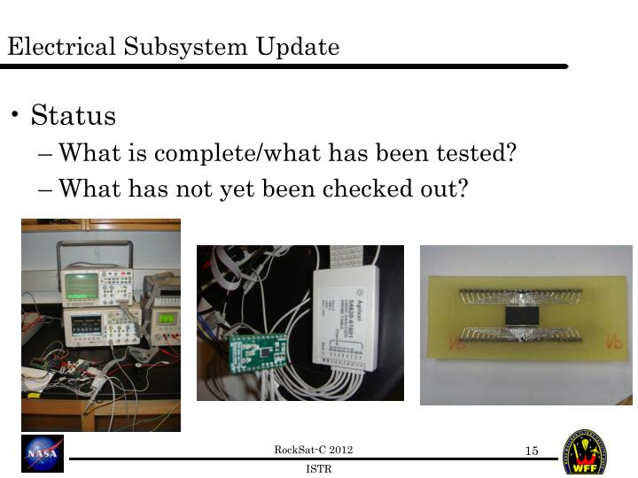 Electrical Subsystem Update