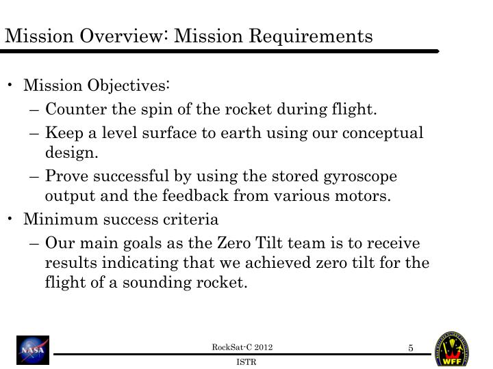 Mission Overview: Mission Requirements