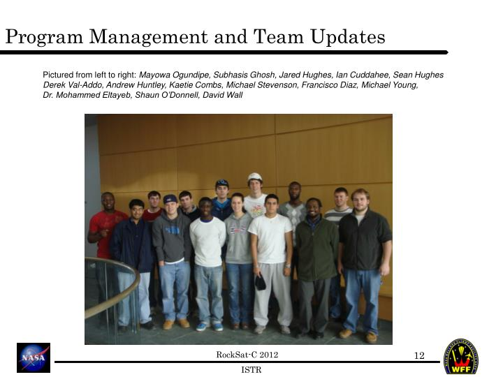 Program Management and Team Updates