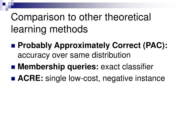 Comparison to other theoretical learning methods