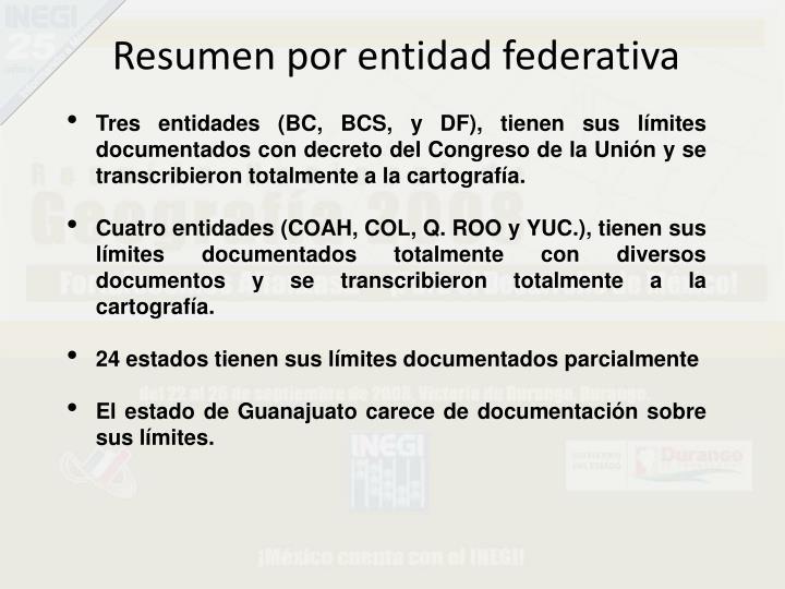 Resumen por entidad federativa