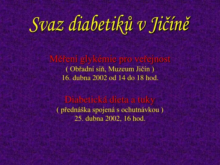 Svaz diabetiků v Jičíně