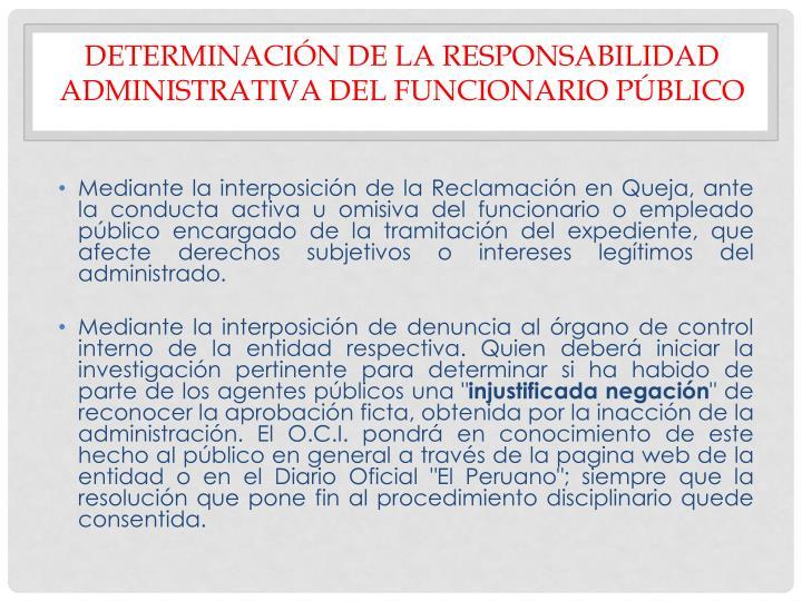 DETERMINACIÓN DE LA RESPONSABILIDAD ADMINISTRATIVA DEL FUNCIONARIO PÚBLICO