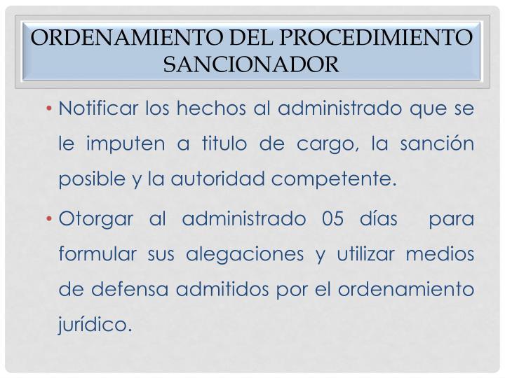 Ordenamiento del procedimiento sancionador