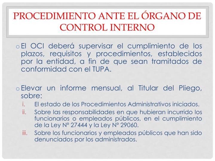 PROCEDIMIENTO ANTE EL ÓRGANO DE CONTROL INTERNO