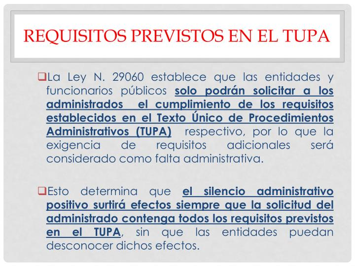 REQUISITOS PREVISTOS EN EL TUPA