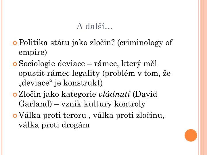 Politika státu jako zločin? (criminology of empire)
